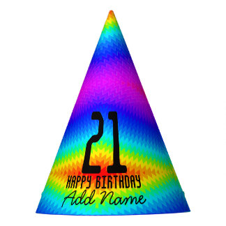 Rainbow tie-dye party hat