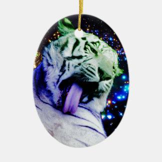 Rainbow Tiger Ceramic Oval Ornament
