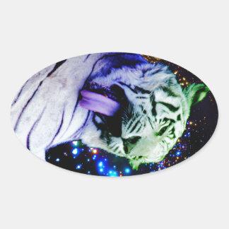 Rainbow Tiger Oval Sticker
