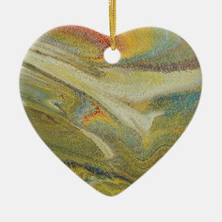 Rainbow Tornado Ceramic Heart Ornament