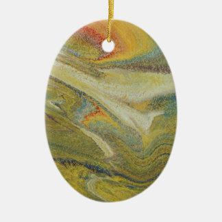 Rainbow Tornado Ceramic Oval Ornament