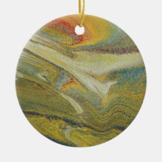 Rainbow Tornado Round Ceramic Ornament