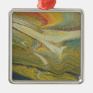 Rainbow Tornado Silver-Colored Square Ornament