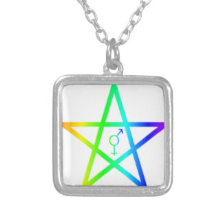 Rainbow Transgender Pentagram #2 Silver Plated Necklace