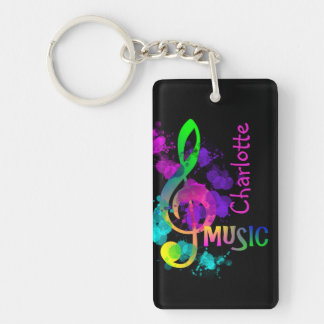 Rainbow Treble Clef Music Paint Splat Personalized Double-Sided Rectangular Acrylic Keychain