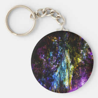 Rainbow Tree Basic Round Button Keychain