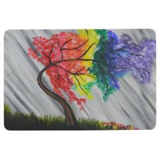 Rainbow tree floor mat
