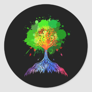 Rainbow Tree of Life Classic Round Sticker