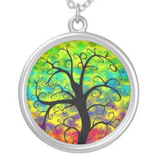 Rainbow Tree of Life Silver Plated Necklace