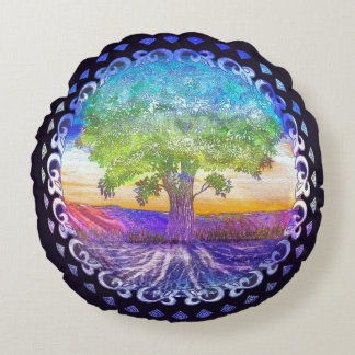 Rainbow Tree Round Pillow