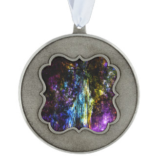 Rainbow Tree Scalloped Pewter Ornament