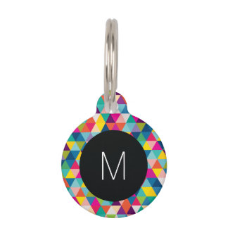 Rainbow Triangles with Black and White Monogram Pet Name Tag