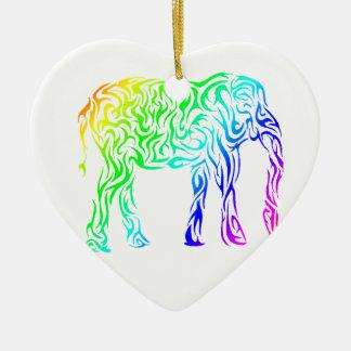Rainbow Tribal Elephant Ceramic Ornament
