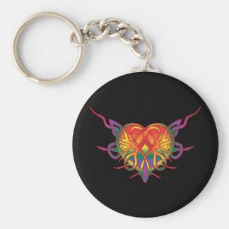 Rainbow Tribal Heart Keychain