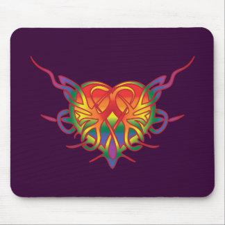 Rainbow Tribal Heart Mouse Pad