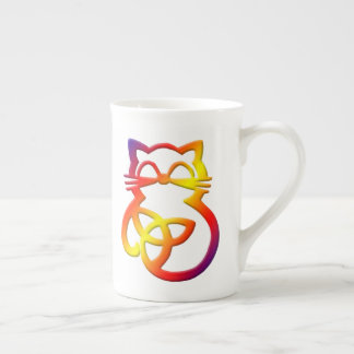 Rainbow Trinity Knot Celtic Cat Bone China Mug