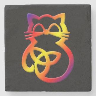 Rainbow Trinity Knot Celtic Cat Coaster