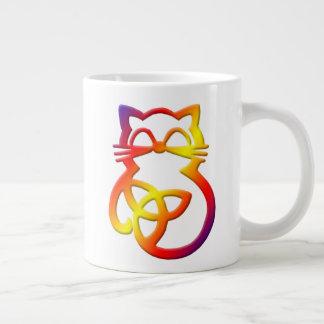 Rainbow Trinity Knot Celtic Cat Jumbo Mug