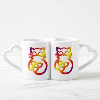 Rainbow Trinity Knot Celtic Cat Mug Set