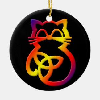 Rainbow Trinity Knot Celtic Cat Ornament
