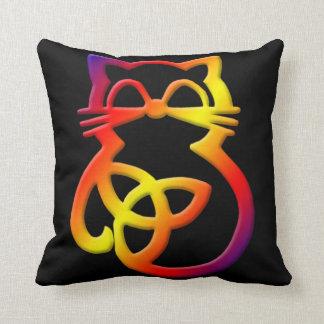 Rainbow Trinity Knot Celtic Cat Throw Pillow