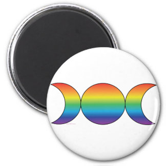 Rainbow Triple Moon 2 Inch Round Magnet