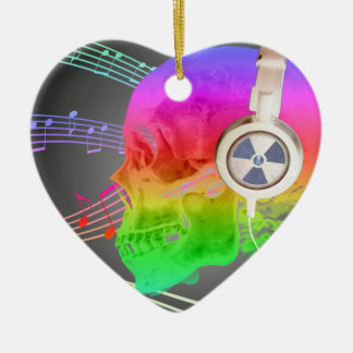 Rainbow Trippy Skull Music Psychedelic Dance Party Ceramic Heart Ornament