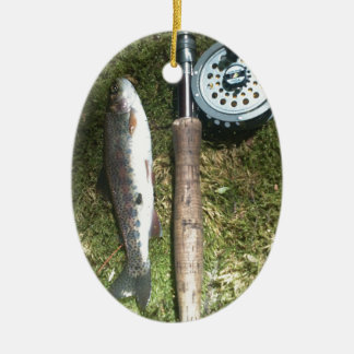rainbow trout and fly fishing reel Double-Sided oval ceramic christmas ornament