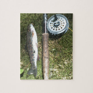 rainbow trout and fly fishing reel puzzles