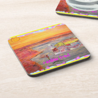 rainbow trout art beverage coasters