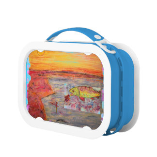 rainbow trout art lunchboxes