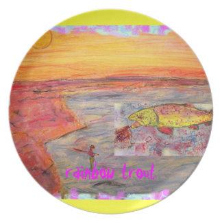 rainbow trout art plates