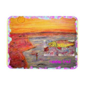 rainbow trout art rectangular photo magnet
