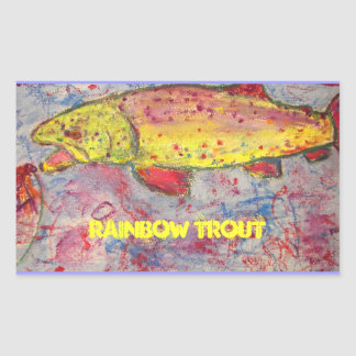 rainbow trout art rectangular sticker