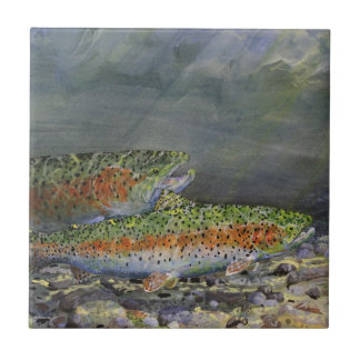 Rainbow trout ceramic tiles