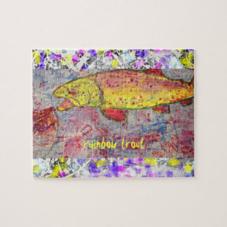 rainbow trout drip painting art jigsaw puzzles