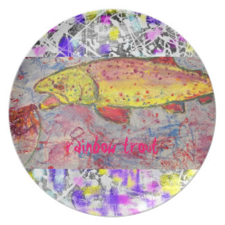 rainbow trout drip painting art dinner plate