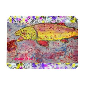 rainbow trout drip painting art rectangular photo magnet