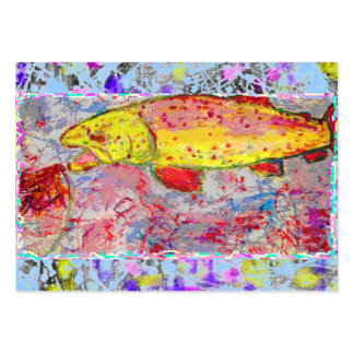 rainbow trout drip painting large business card