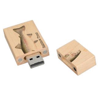 Rainbow Trout Fish Wood USB 2.0 Flash Drive