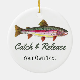 Rainbow Trout Fishing - Catch and Release Ceramic Ornament