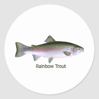 Rainbow Trout Fishing  Logo Classic Round Sticker
