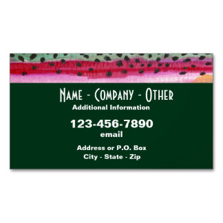 Rainbow Trout Fishing Magnetic Business Card