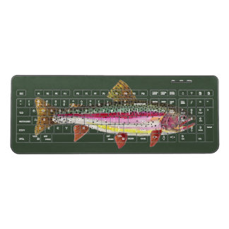 Rainbow Trout Fly Fishing Office or Home Wireless Keyboard