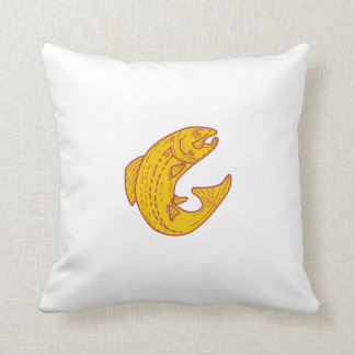 Rainbow Trout Jumping Mono Line Throw Pillow