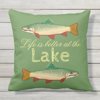 Rainbow Trout | Life is better at the Lake Throw Pillow