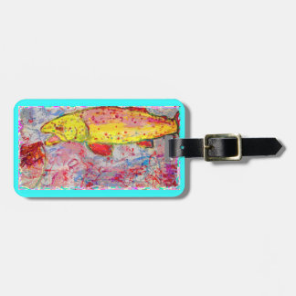 rainbow trout screenprint look luggage tags
