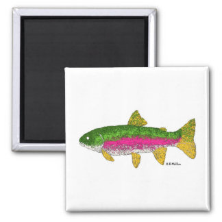 Rainbow Trout Square Magnet