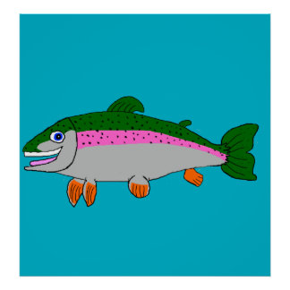 Rainbow trout stationery poster