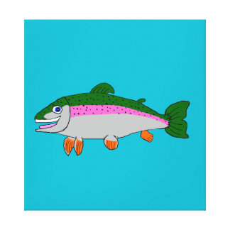 Rainbow trout stationery stretched canvas print